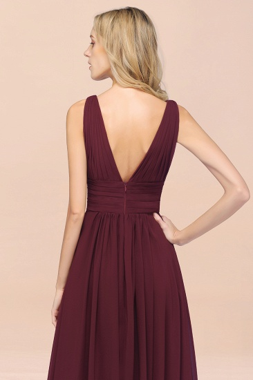 Elegant V-Neck Burgundy Chiffon Cheap Bridesmaid Dress with Ruffle_42