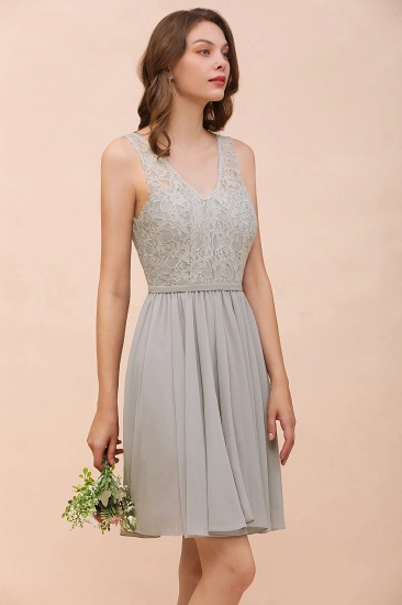 Affordable Lace V-Neck Silver Chiffon Short Bridesmaid Dress Online_9