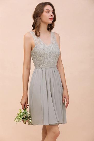 BMbridal Affordable Lace V-Neck Silver Chiffon Short Bridesmaid Dress Online_9