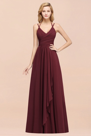 BMbridal Affordable Chiffon Burgundy Bridesmaid Dress With Spaghetti Straps_51