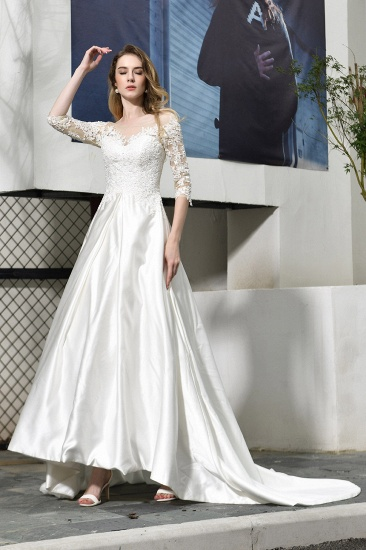 BMbridal Elegant A-Line Satin Lace 3/4 Sleeves Ankle Length Wedding Dress_5