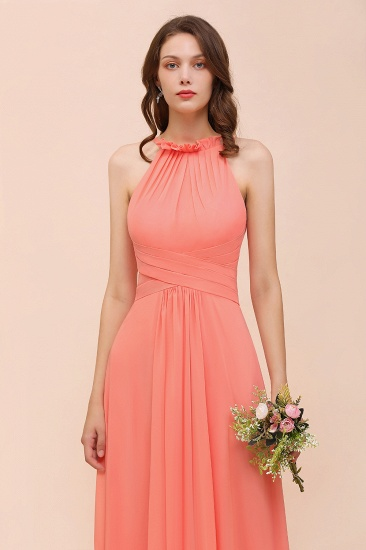BMbridal Modest Halter Ruffle Coral Chiffon Affordable Bridesmaid Dress Online_8