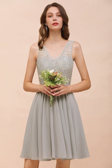 Affordable Lace V-Neck Silver Chiffon Short Bridesmaid Dress Online_7