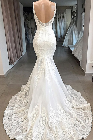 Glamorous Spaghetti Straps Ivory Mermaid Wedding Dresses With Appliques Sleeveless Lace Bridal Gowns On Sale_3