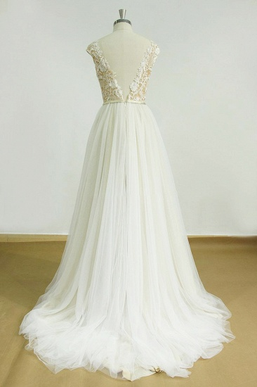 BMbridal Elegant Jewel Tulle Lace Wedding Dress Sleeveless Appliques Bridal Gowns On Sale_3
