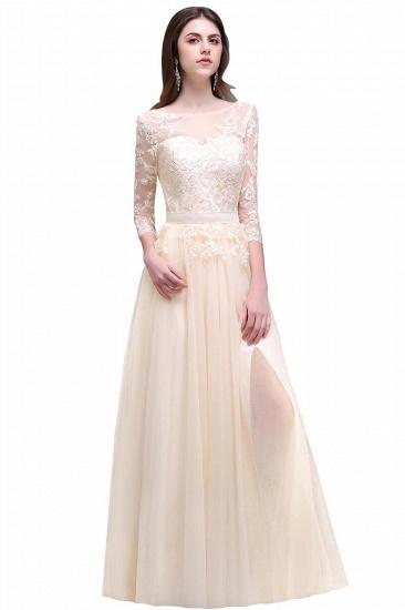 BMbridal Lace Appliques Split Long Tulle Prom Dress_4