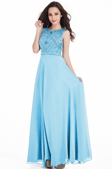 Gorgeous Sleeveless Crystal Long Prom Dress Chiffon Evening Gowns Online_7