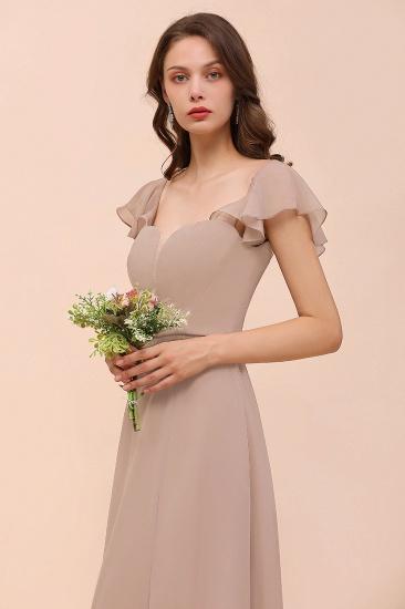 Elegant Chiffon Slit Affordable Bridesmaid Dresses with  Short Sleeves_6