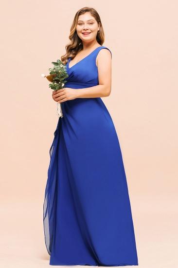 Elegant V-Neck Sleeveless Chiffon Plus Size Bridesmaid Dress_4