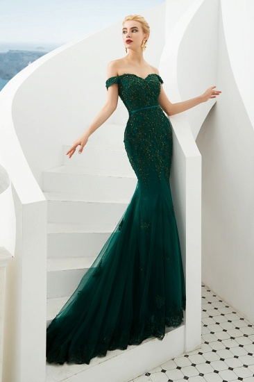 BMbridal Off-the-Shoulder Green Prom Dress Long Mermaid Evening Gowns With Lace Appliques_4