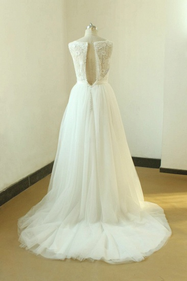 Gorgeous A-line White Lace Tulle Wedding Dress Sleeveless Appliques Bridal Gowns On Sale_3