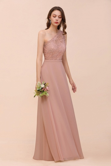 New Arrival Dusty Rose One Shoulder Lace Long Bridesmaid Dress_54