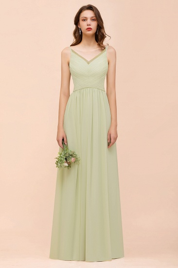 Popular Sage Chiffon V Neck Low Back Bridesmaid Dress