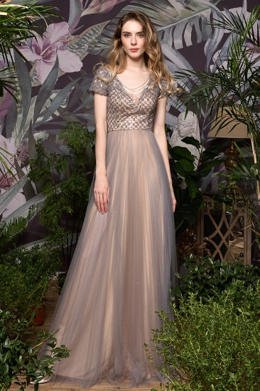 Glamorous Short Sleeve Tulle Prom Dress Long Evening Party Gowns Online_7