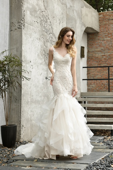 BMbridal Gorgeous Mermaid Tulle Appliques Ivory Wedding Dress_7