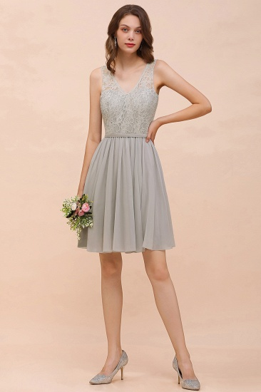 Affordable Lace V-Neck Silver Chiffon Short Bridesmaid Dress Online_6