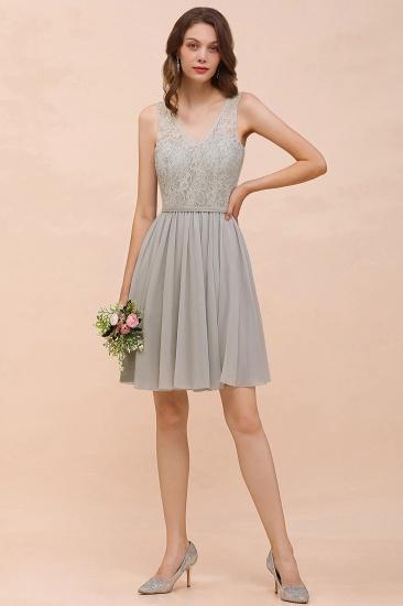 BMbridal Affordable Lace V-Neck Silver Chiffon Short Bridesmaid Dress Online_6