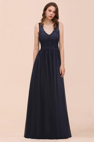 Affordable Lace V-Neck Navy Bridesmaid Dress with Open Back_5