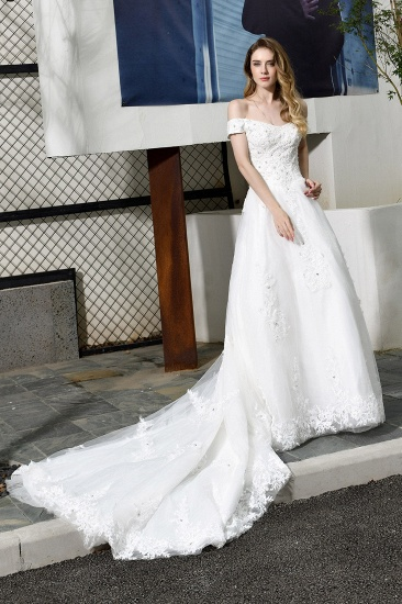 Gorgeous Lace Off-the-Shoulder Long Wedding Dress with Beadings_1