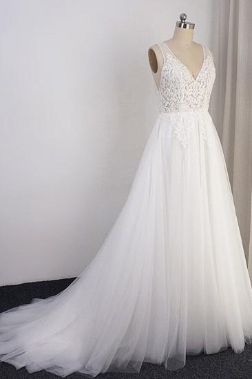 BMbridal Elegant Appliques Straps Tulle Wedding Dress A-line White V-neck Bridal Gowns On Sale_4