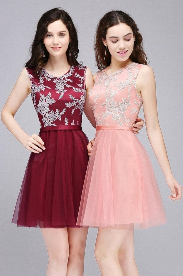 BMbridal Pink Short Homecoming Dress with Lace Appliques_7