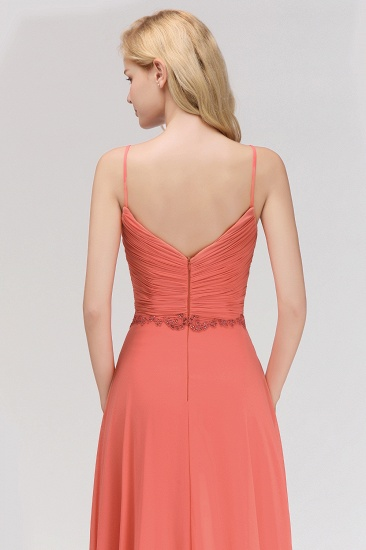 BMbridal Modest Spaghetti-Straps Ruffle Affordable Bridesmaid Dress with Appliques_9