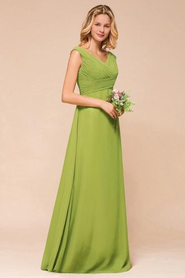 Affordable V-Neck Sleeveless Green Chiffon Bridesmaid Dress Online_4