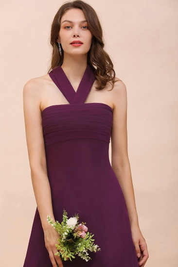 Stylish Hi-Lo Halter Grape Chiffon Affordable Bridesmaid Dresses with Ruffle_9
