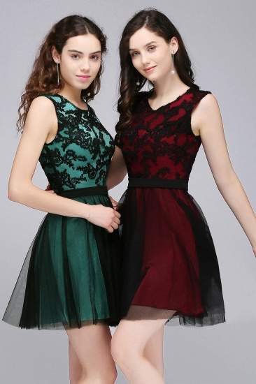 BMbridal Short Lace Appliques Tulle Sleeveless Prom Dress_7