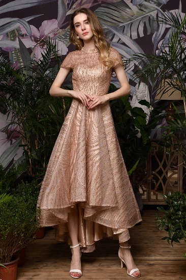 Glamorous Rose Gold Sequins Prom Dress Short Sleeve Evening Gowns Online_4