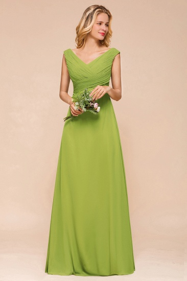 Affordable V-Neck Sleeveless Green Chiffon Bridesmaid Dress Online_6