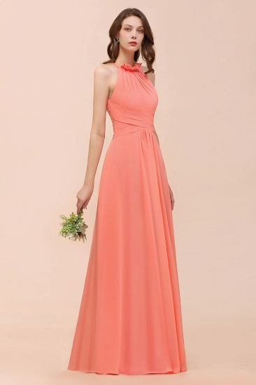 BMbridal Modest Halter Ruffle Coral Chiffon Affordable Bridesmaid Dress Online_9