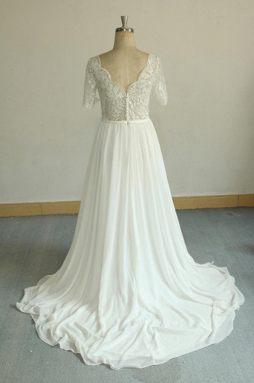 BMbridal Affordable Halfsleeves V-neck Chiffon Wedding Dresses White A-line Ruffles Bridal Gowns Online_3