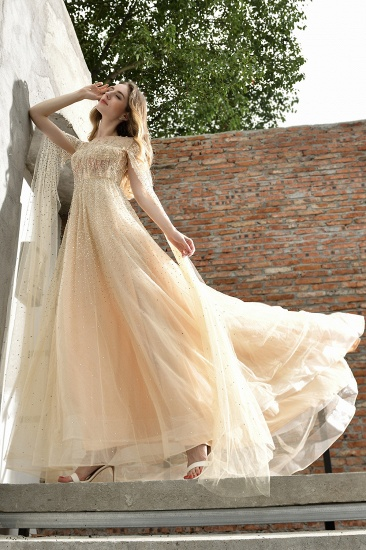 Luxurious Tulle Crystals Long Prom Dress Online With Ruffle Sleeves_10