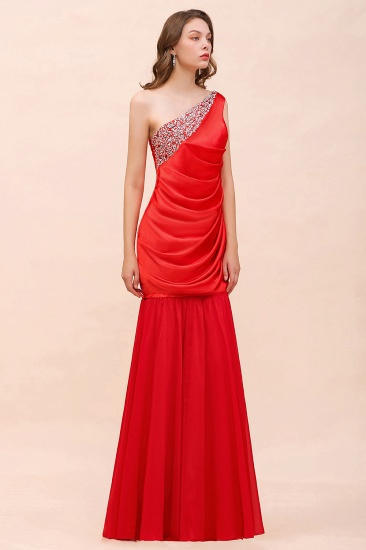 BMbridal Chic One Shoulder Beading Ruffle Red Bridesmaid Dress with Detachable Skirt_4