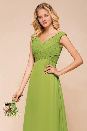 Affordable V-Neck Sleeveless Green Chiffon Bridesmaid Dress Online_9