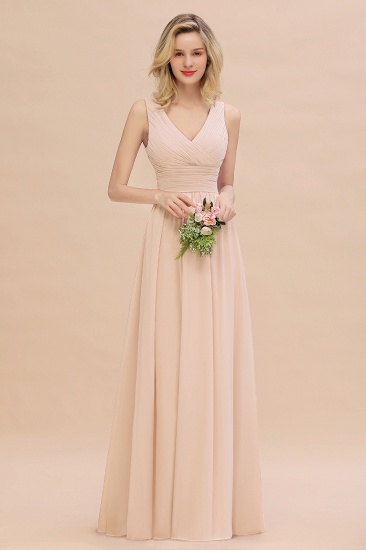 Elegant V-Neck Dusty Rose Chiffon Bridesmaid Dress with Ruffle_5