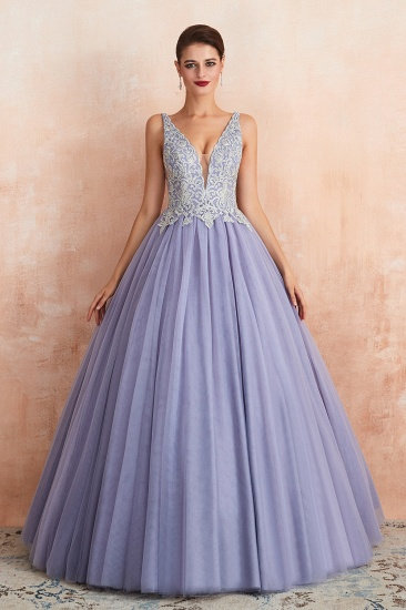 Gorgeous Lavender Lace Prom Dress V-Neck Ball Gown Tulle Formal Wears_4