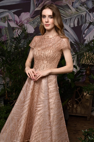 Glamorous Rose Gold Sequins Prom Dress Short Sleeve Evening Gowns Online_11