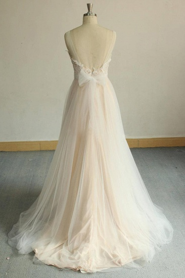 BMbridal Affordable Jewel Sleeveless A-line Wedding Dresses Tulle Lace Bridal Gowns Online_5