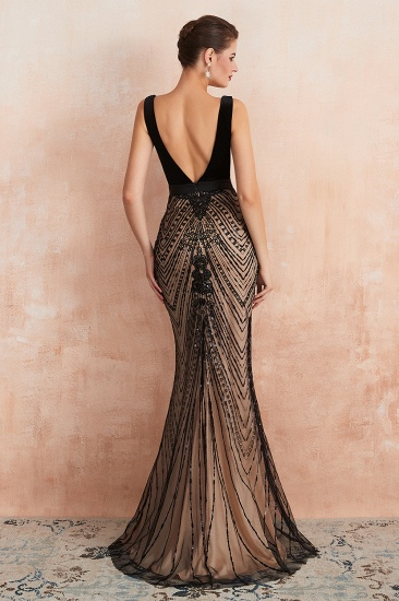 BMbridal Sexy Black Lace Mermaid Prom Dress Long Sleeveless Evening Party Gowns Online_3