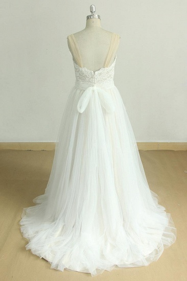 BMbridal Chic Sweetheart Lace Wedding Dress A-line White Tulle Bridal Gowns On Sale_3