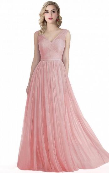 BMbridal A-line Ruffled Tulle Sleeveless Ribbon Sash V-neck Bridesmaid Dress_1
