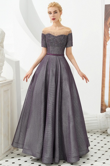 BMbridal Off-the-Shoulder Short Sleeve Beadings Prom Dress Long Lace-up Evening Gowns_1