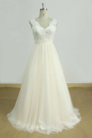 BMbridal Elegant Lace Straps V-neck Appliques Wedding Dress Tulle Ruffles A-line Bridal Gowns On Sale_1