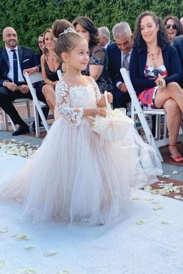 BMbridal Long Sleeve Tulle Lace Flower Girl Dress With Bowknot_4