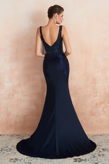 BMbridal Gorgeous Navy Mermaid Prom Dress With Appliques Tassels Online_3