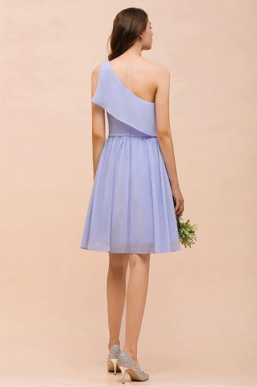 Affordable One Shoulder Ruffle Lavender Chiffon Short Bridesmaid Dress_3