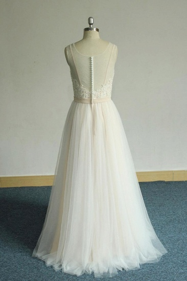 BMbridal Chic Straps Sleeveless Appliques Wedding Dress A-line Tulle White Bridal Gowns On Sale_3