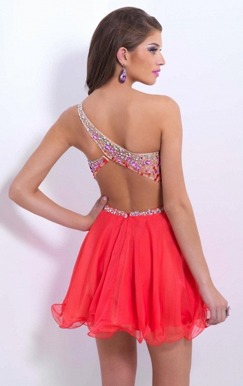BMbridal A-line One Shoulder Chiffon Party Dress With Crystal_6